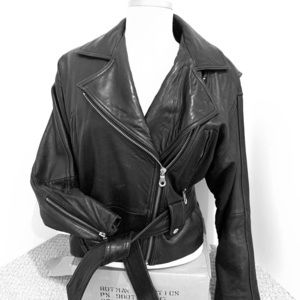ANDREW MARC  black leather motorcycle jacket